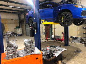 Subaru STi blue shop