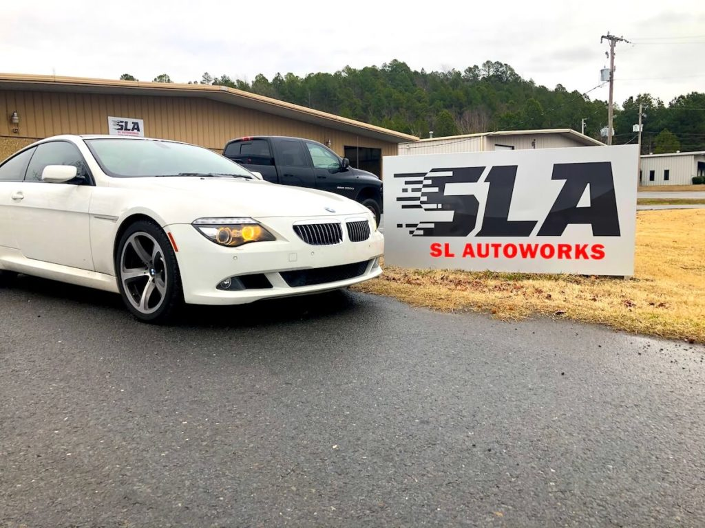 BMW SL Autoworks sign