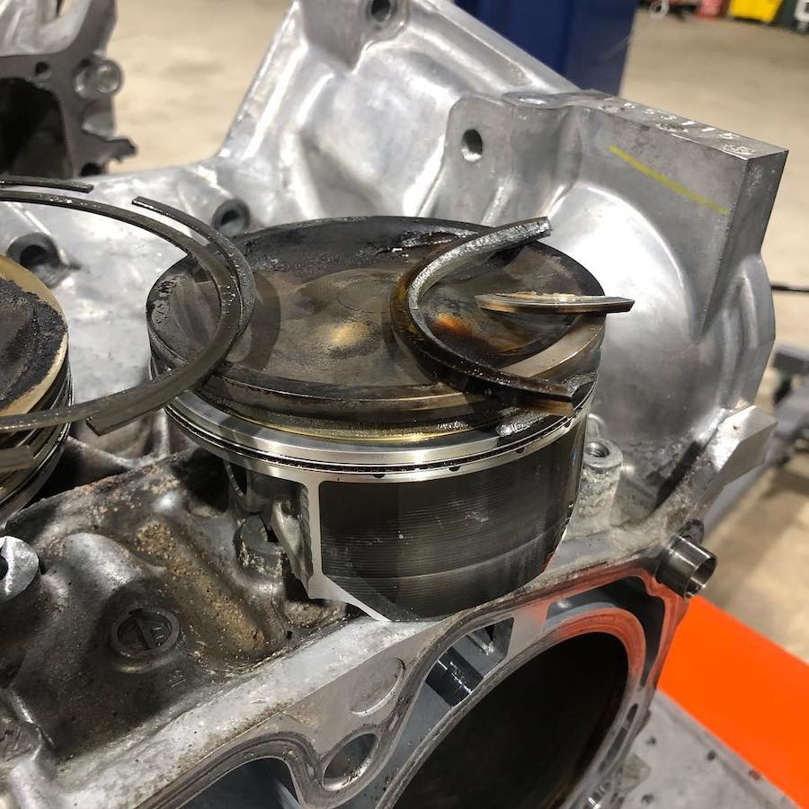 Cylinder #4 with a broken ringland on a Subaru WRX STI